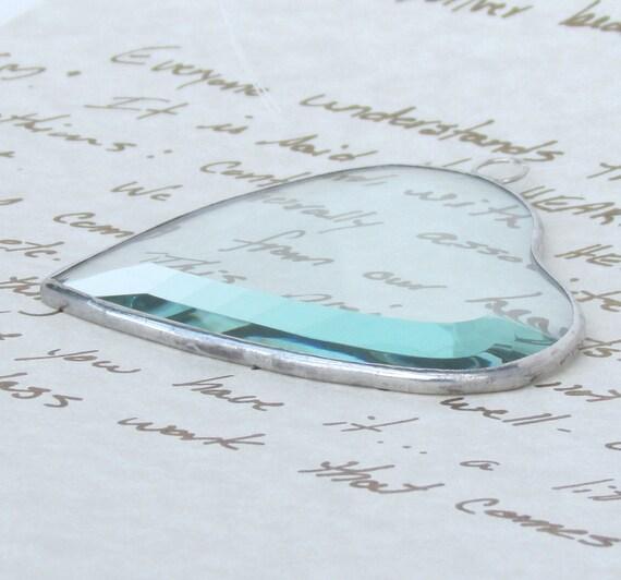 Clear Beveled Stained Glass Heart Suncatcher Valentine Ornament Wedding Favor