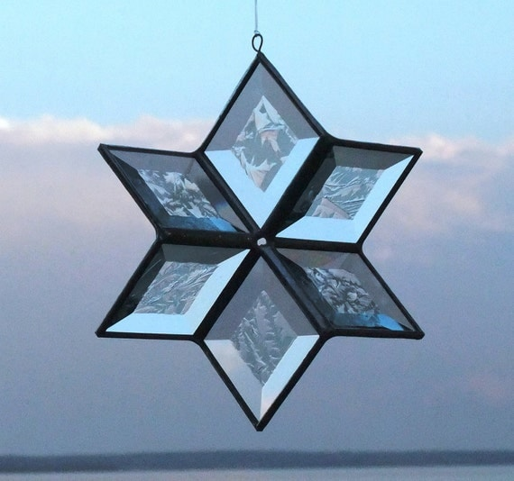 Clear Frost 3D Stained Glass Gazing Star Suncatcher - Large