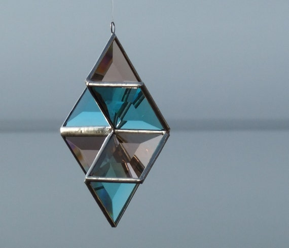 3D Turquoise and Champagne Beveled Stained Glass Star with Silver Lines - Medium