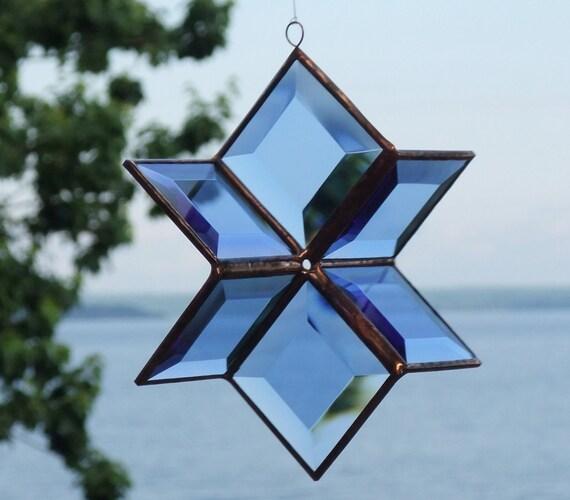Stained Glass Geometric Star Suncatcher Blue Glass Hanging Sculpture Ornament Indoor Outdoor Glass Garden Art Handmade in Canada
