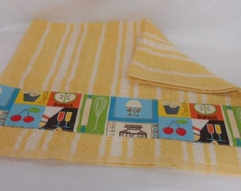 Kitchen Towel Yellow and White with Retro Kitchen Cooking Accent Material