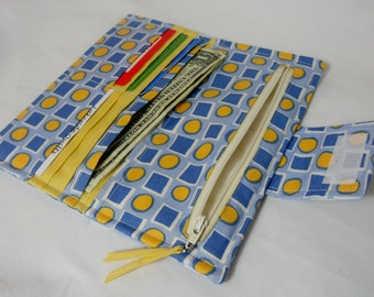 Handmade Wallet, Blue Yellow Bifold Wallet, Womens Wallet, Made in USA