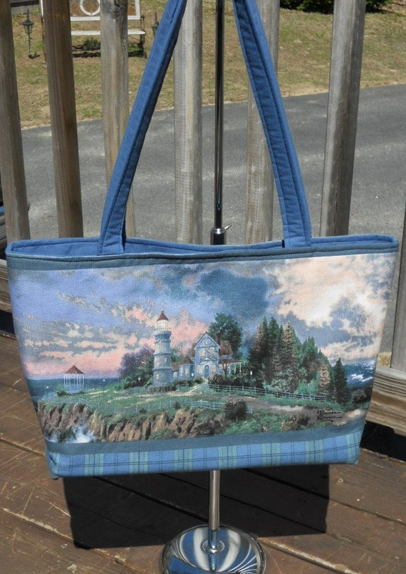 Lighthouse Tote Bag Blue Plaid, Lots of Pockets