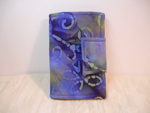 Coupon Organizer Errand Book Blue Purple Batik