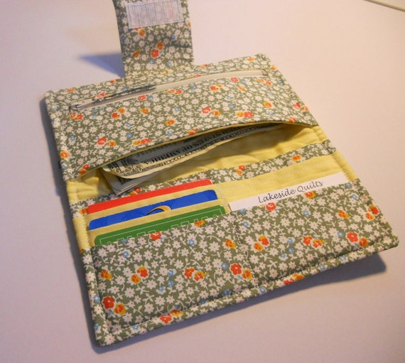 Handmade Wallet, Quilted Wallet, Posies Yellow and Green
