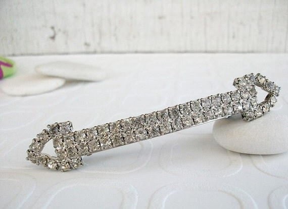 Vintage Rhinestone Hair Clip Barrette Made in France FREE SHIPPING