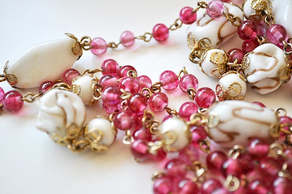 Vintage Pink Coro Necklace Extra Long