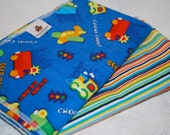 """Vehicles and Stripes, Set of Two Extra Large 40"""" x 40"""" Swaddling Blankets, Ready to Ship"""
