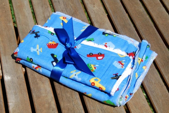 Planes, Boats, and Cars  Swaddling/Receiving Blanket and Burp Cloth Set