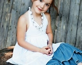 White textured halter tunic, sizes 2T, 3T, 4T, 5 and 6