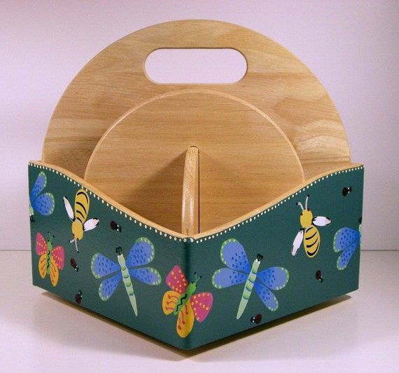 Whimsical Design Hand Painted Revolving Organizer