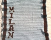 Personalized Baby Boy Blanket, Blue and Brown, Keepsake, Baby Shower, Gift Ideas, Baby Room Decor
