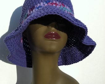 Purple Floppy Sun Hat made with 100% Cotton