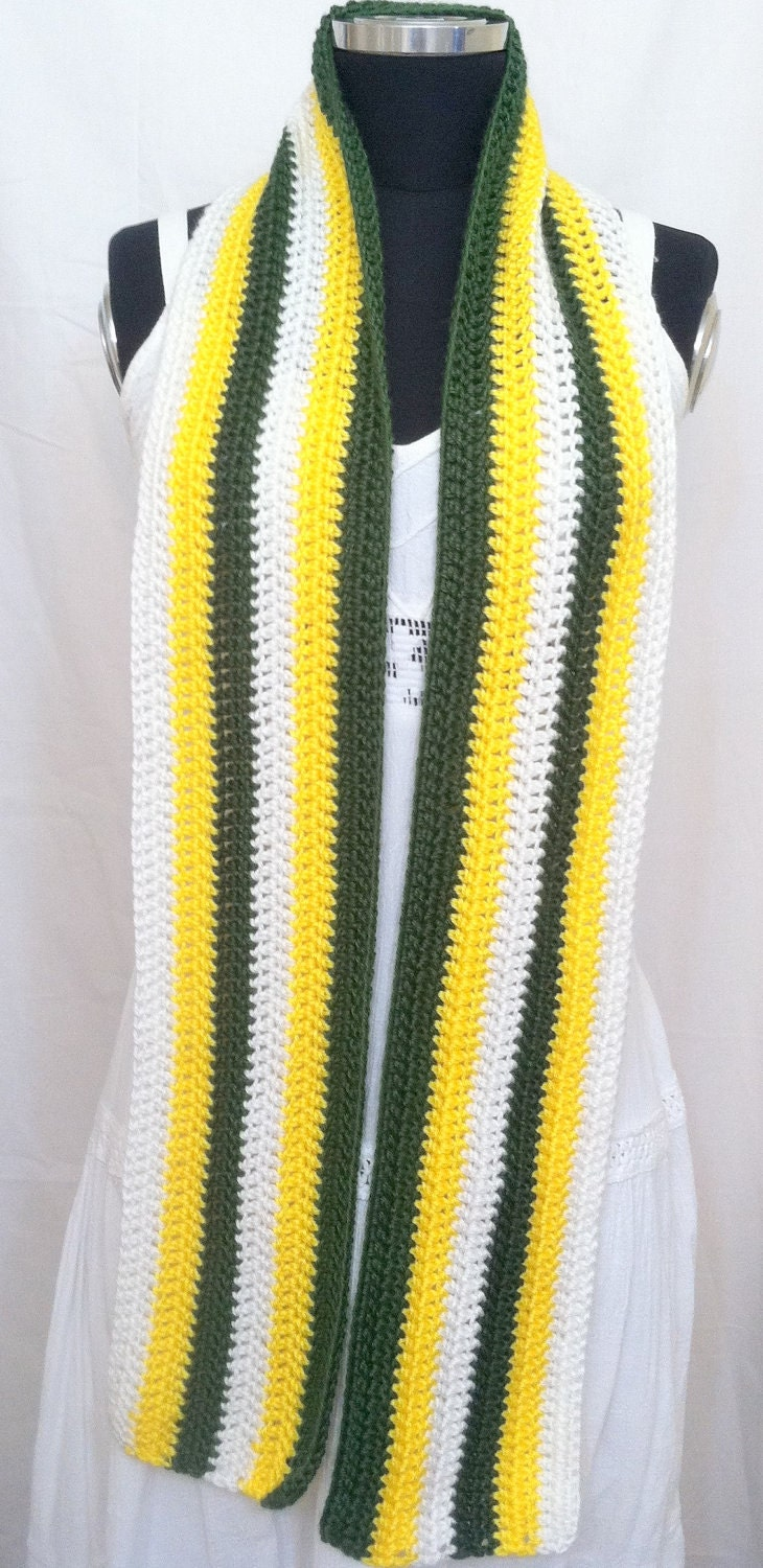 nfl football green bay packers crochet scarf green gold