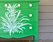 Vintage Shabby  Country Chic Kelly Green Chest of Drawers