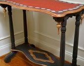 Hand Painted Black Red and Gold Vintage One of A Kind Side Table