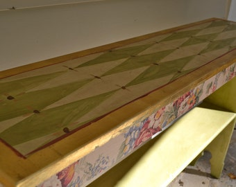 Painted Green Diamond Hall Table