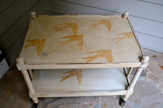 Vintage Shabby Chic Hand Painted White Distressed Table