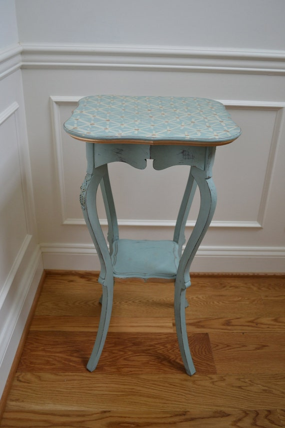 Hand Painted Duck Egg Blue Antique Vintage Side table