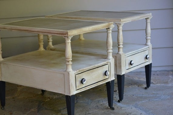 Up cycled   Hand painted Distressed White  End tables