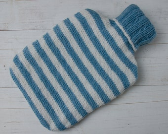 Knitted Hot Water Bottle Cover in Blue and Cream stripes