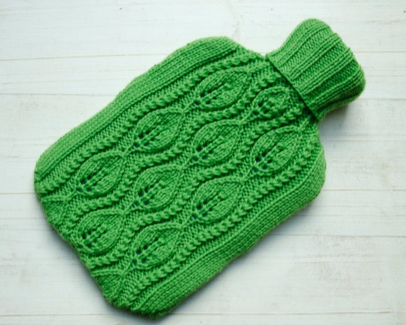 Knitted Hot water bottle Cover Apple Green Cable Leaf Design 100%  pure wool