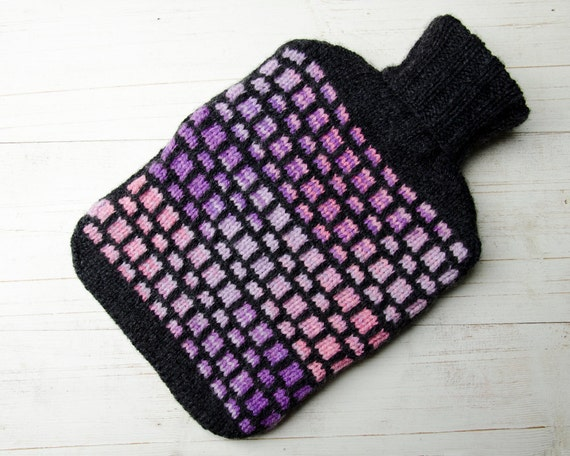 Knitted Hot Water Bottle Cover in Charcoal and Pink Lilac Purple Mosaic Design