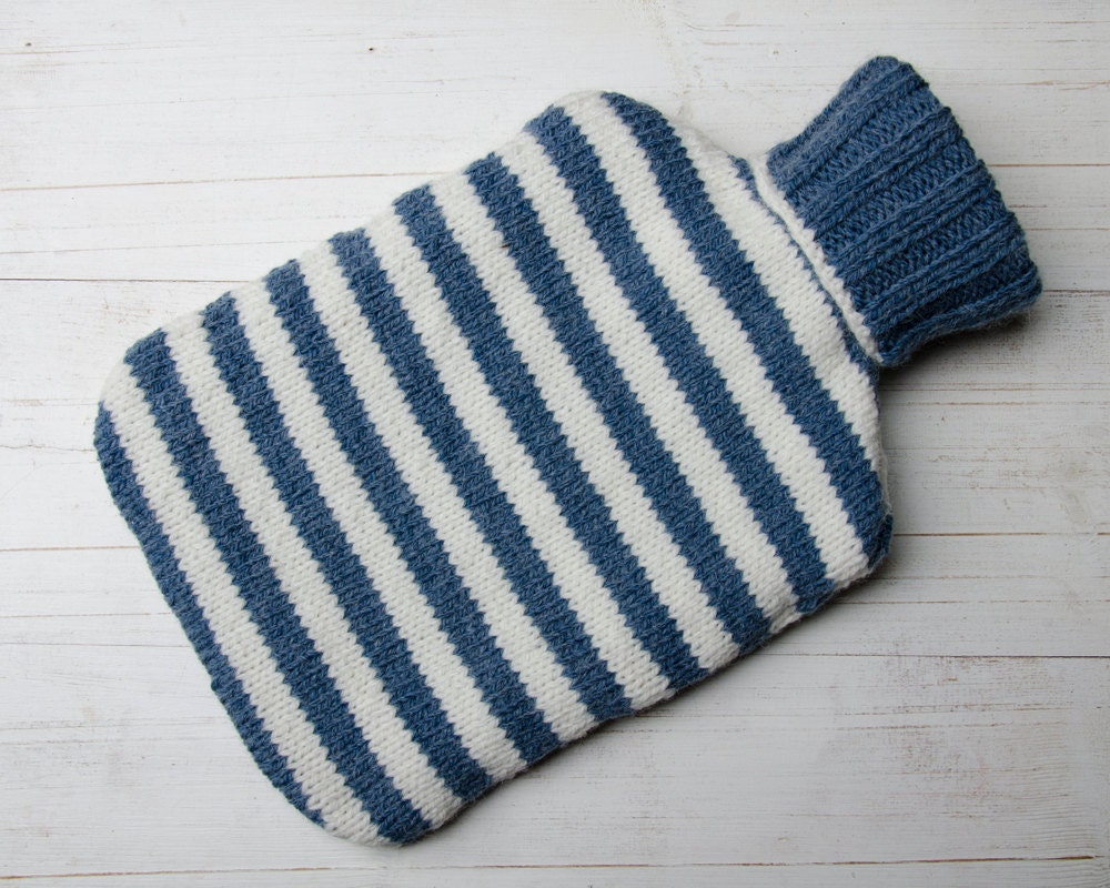 Knitting Pattern For A Hot Water Bottle Cover : Knitted Hot Water Bottle Cover in Denim Blue and Cream stripes