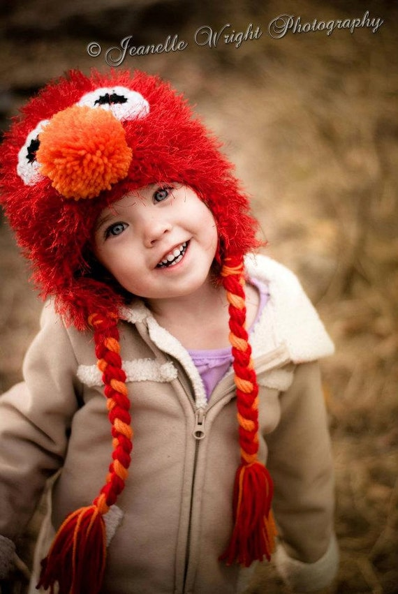 Fuzzy earflap Hat crochet pattern fashioned after Elmo, newborn to adult size