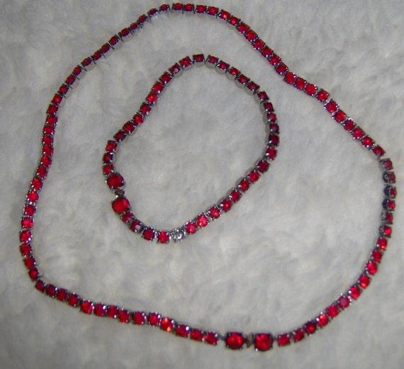 Vintage Red Rhinestone Necklace Bracelet Free Ship