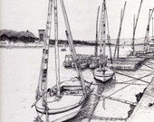 Egyptian Boats in Aswan ink drawing print