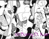 Abstract ink line art 443 print