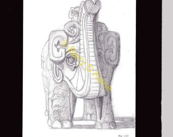 Chinese Elephant sketch print