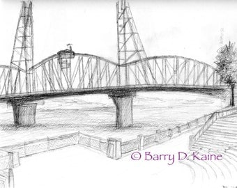 Hawthorne Bridge North view pencil sketch print