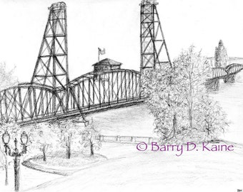 Hawthorne Bridge pencil .2 print