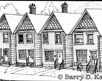 Rowhouses ink illustration print