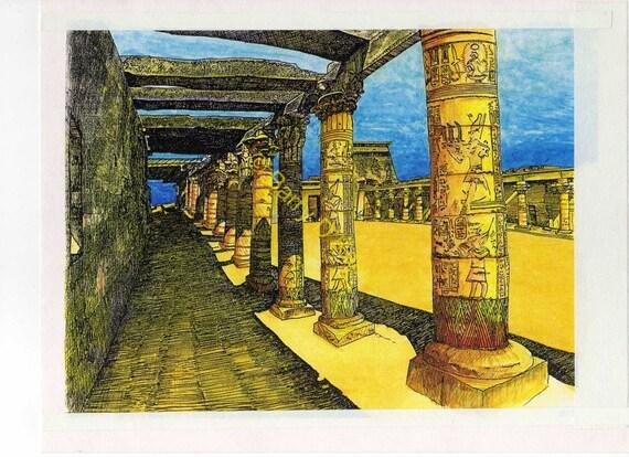 Temple of Philae Pillars print