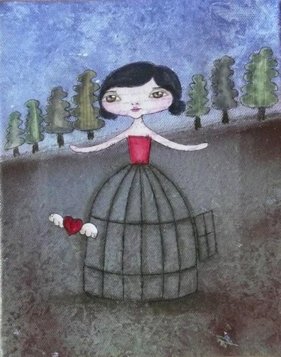Be fearless. Let go. - original mixed media painting by Natasha May