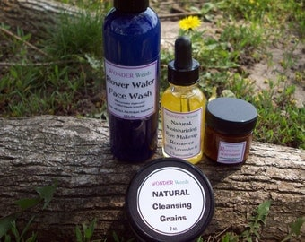 ALL Natural Facial Care Set includes  our  Best selling Face Moisturizer, Face Wash, Makeup Remover, & Cleansing Grains and Mask