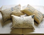 3 French Postcard mini pillows
