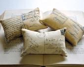 3 French Postcard mini pillows