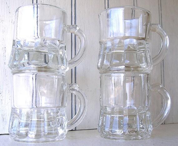 4 Vintage Federal Glass Mini Mugs Shot Glasses