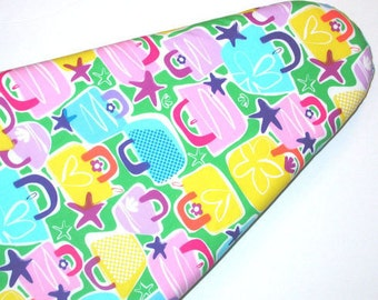 Laundry Room  Ironing Board cover in pink blue and yellow Handbags.