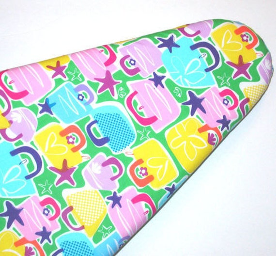 Ironing Board cover in pink blue and yellow Handbags.