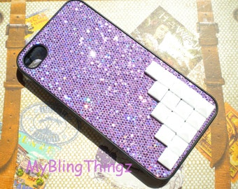 White Pyramid Studs on Purple Glitter Sparkle Case Cover for Apple iPhone 4 4G 4S AT&T Verizon Sprint