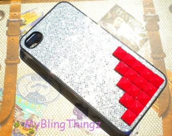 RED Metal Pyramid Studs on Silver Glitter Sparkle Bling Case Cover for Apple iPhone 4 4G 4S AT&T Verizon Sprint