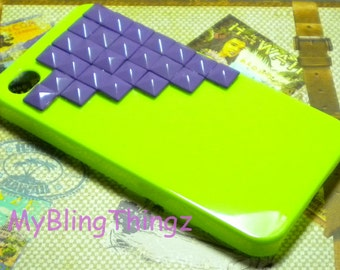 Purple Brass Pyramid Studs on Bright Green Case Cover for Apple iPhone 4 4G 4S AT&T Verizon Sprint