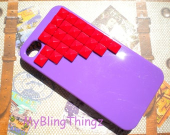 Red Brass Pyramid Studs on Bright Purple Case Cover for Apple iPhone 4 4G 4S AT&T Verizon Sprint