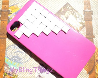 White Metal Pyramid Studs on Bright Pink Case Cover for Apple iPhone 4 4G 4S AT&T Verizon Sprint