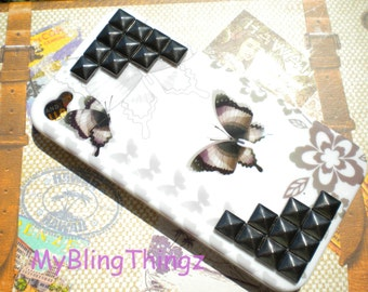 LAST ONE - Gunmetal Pyramid Studs on White Butterfly Design Case Cover for Apple iPhone 4 4G 4S AT&T Verizon Sprint